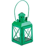 Railroad-Style Candle Lantern - Green