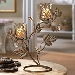 Iron Double Candle Holder with Cutout Owls