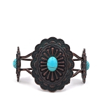 Petina with copper flower shape with blue turquoise bead in the center bracelet