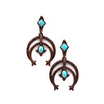 Copper plated squash blossom dangling earring with blue-turquoise stones