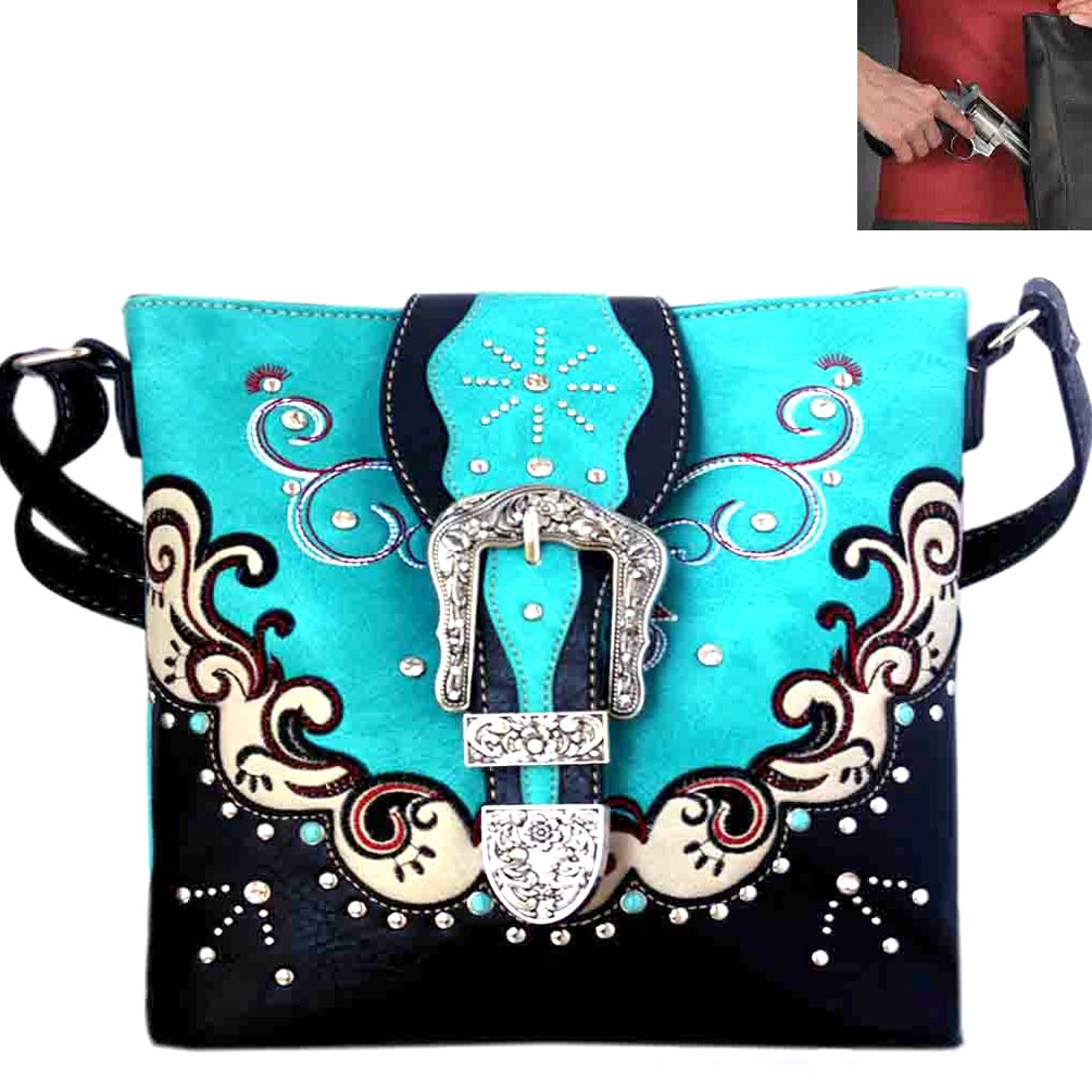 Concealed Carry Western Buckle Embroidery Crossbody Bag Turquois