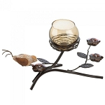 Earth Tone Candle Holder with Partridge