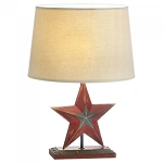 Distressed-Look Red Star Country Table Lamp