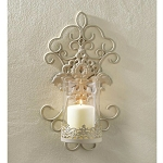 Romantic Ivory Scrolled Iron Wall Sconce