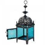 Weathered-Look Blue Candle Lantern - 12 inches