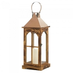Wood Rose Gold Candle Lantern - 20.5 inches