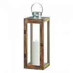 Square Wood Candle Lantern with Metal Top - 19.5 inches