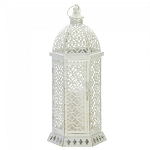 Lacy Cutout Distressed White Candle Lantern - 20 inches