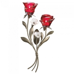 Romantic Red Rose Wall Sconce - Double
