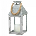 Galvanized Metal Candle Lantern with Rope Handle - 12 inches