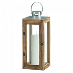 Square Wood Candle Lantern with Metal Top - 16 inches