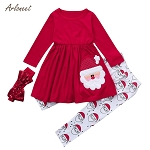 ARLONEE toddler girl clothe Christmas children's long sleeve cartoon Santa Claus dress + pants + hair band winter set