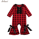 ARLONEET Clothes Girls  Kids Cute Red 1pc Print  Romper Child Baby Casual O Neck Long sleeves Cotton Plaid Clothes