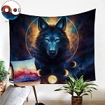 Beautiful Dream Catcher Moon Eclipse Wolf or Elk Tapestry by JoJoesArt