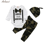 ARLONEET Baby Clothes  Boys Long Sleeve Letter Print Romper+Camouflage Pants+Cap Set Baby 3pc Fashion Sport Outfits Set