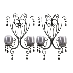 Beaded Candle Wall Sconce Pair