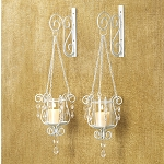 Beaded Pendant Wall Candle Holder Pair