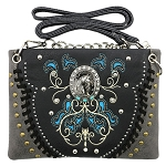 Horse Concho Embroidery Studded Mini Crossbody Bag-Black