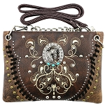 Horse Concho Embroidery Studded Mini Crossbody Bag-Brown