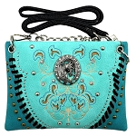 Horse Concho Embroidery Studded Mini Crossbody Bag-Turquoise