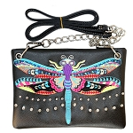 Dragonfly Embroidery Mini Crossbody Bag-Black