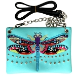 Dragonfly Embroidery Mini Crossbody Bag-Mint