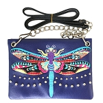 Dragonfly Embroidery Mini Crossbody Bag-Purple