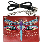 Dragonfly Embroidery Mini Crossbody Bag-Red