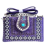 Western Concho Tooling Studded Mini Crossbody Bag-Purple
