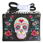 Sugar Skull Embroidery Western Mini Crossbody Bag-Black