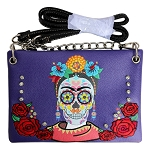 Sugar Skull Embroidery Western Mini Crossbody Bag-Purple
