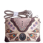 Western Concho Peacock Feather Embroidery Mini Crossbody Bag-Beige