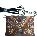 Western Concho Peacock Feather Embroidery Mini Crossbody Bag-Brown