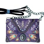 Western Concho Peacock Feather Embroidery Mini Crossbody Bag-Purple