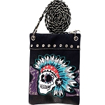 Western Sugar Skull Embroidery Mini Crossbody Bag-Purple