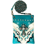 Western Spiritual Cross Rhinestone Embroidery Mini Crossbody Bag-Turquoise