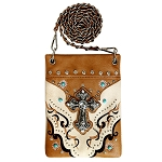 Western Spiritual Cross Rhinestone Embroidery Mini Crossbody Bag-Beige