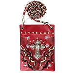Western Spiritual Cross Rhinestone Embroidery Mini Crossbody Bag-Red