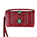 Multi Functional Aztec Trifold Clutch Crossbody Wallet-Wine