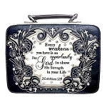 Bible Verse Embroidery Bible Cover-Black