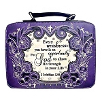 Bible Verse Embroidery Bible Cover-Purple