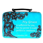 Bible Verse Embroidery Bible Cover-Turquoise