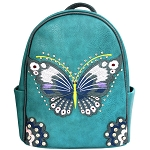 Concealed Carry Butterfly Embroidery Cowgirl Backpack-Turquoise