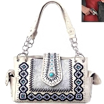 Concealed Carry Western Concho Tooling Embroidery Shoulder Bag-Beige