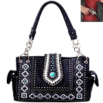 Concealed Carry Western Concho Tooling Embroidery Shoulder Bag-Black