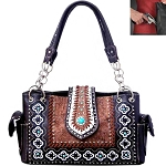 Concealed Carry Western Concho Tooling Embroidery Shoulder Bag-Brown