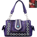 Concealed Carry Western Concho Tooling Embroidery Shoulder Bag-Purple