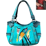 Concealed Carry Western Aztec Embroidery Shoulder Bag-Turquoise