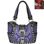 Concealed Carry Western Buckle Embroidery Shoulder Bag-Purple