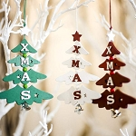 Wooden Painted Letters Christmas Tree
